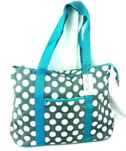 "Ever Moda Beach or Shopping Polka Dots Tote Bag in Gray with Blue 21"" -  NEW!"