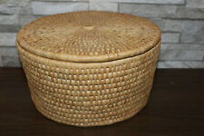 Large Wicker Sewing Knitting Crocheting -  Tan And Red Basket With Lid Hobbie