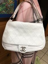 Chanel XL Jumbo Quilted White Hobo Flap Leather Bag