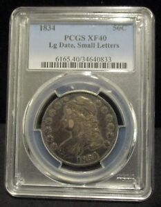 1834 Capped Bust Half Dollar-PCGS XF40 Lg. Date, Small Letters - Premium Quality