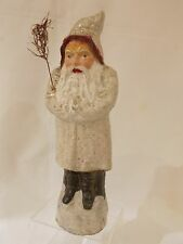"""☆Antique 11.5"""" White Robe Santa / Belsnickle German Candy Container w/Mica #23☆"""