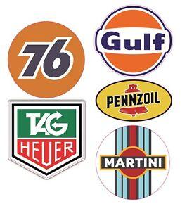5x Rally Aufkleber Martini Oldschool 76 Oldtimer Tag Heuer Gulf Racing Kult #806