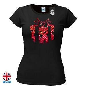 Christmas Present Gift T-shirt Ladies Metallic Red Sparkle Effect  Xmas Festive