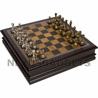 Chess Board Game Set Wood Wooden Inlaid Lift Up Storage METAL Pieces 12 Inch NEW