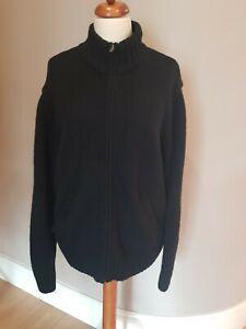 CARHARTT Black Knitted Zip up Black Cardigan Jacket Size XL 100% Shetland Wool