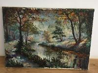 tableau ancien huile sur toile ROBERT PERROT (XXe-s) cours d'eau