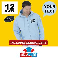Uneek UC504 Personalised Embroidered Zip Hoodie, Workwear, Customised Hoody Top