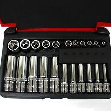 """22 pc 1/4"""" & 3/8"""" Drive Female Torx Socket Set E4-E8 E10-E18 Deep & Shallow"""