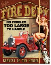 Fire Department Pin Up Girl Firefighter Novelty TIN SIGN Metal Wall Poster