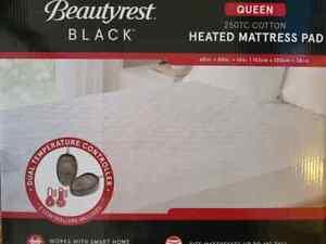 NEW Beautyrest Black 250TC Cotton Heated Mattress Pad Queen