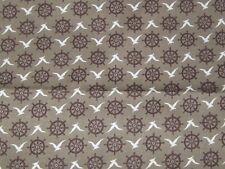 Vintage Nautical Fabric Canvas Upholstery Bark Cloth?  Ship Helm Sea Gulls 3.5 Y