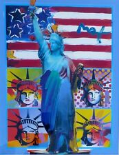Peter Max Full Liberty with four heads orig. mixed media & acrylic signed framed