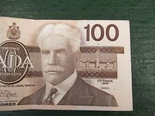 Canadian $100 Dollar Bank Note Bill BJC6307716 Circulated 1988 Canada