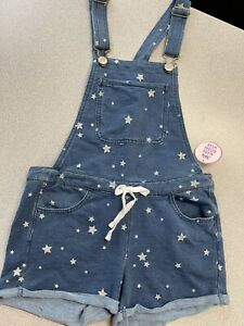 justice shortalls size 10 NWT soft and stretchy denim star details