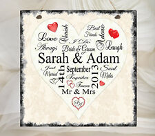 Beautiful Hand Made Personalised Typography Plaque Wedding Love Heart Sign