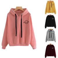 Plus Size Womens Long Sleeve Hoodie Sweatshirt Tshirt Jumper Hoody Blouse Women