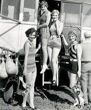 4 bathing suit women climbing aboard airship 1920s 8 x 10 Photograph