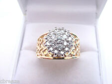WIDE BAND STYLE 13 mm. DIAMOND CLUSTER .95 TCW  VINTAGE 14K GOLD RING 8 GRAMS