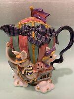 Rare Fitz & Floyd Ballooning Bunnies Hot Air Balloon Sailboat Teapot 1995