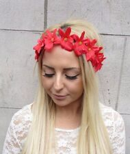 Red Orchid Flower Garland Headband Hair Crown Band Boho Hawaiian Festival 2451