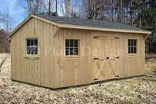 Shed Plans, 10' x 16' Saltbox Roof Style Storage Building Blueprints, #71016