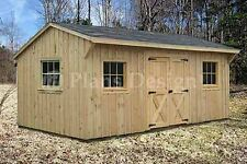 Shed Plans, 10' x 16' Saltbox Roof Style Storage Building Blueprints, #71016