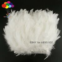 2 Meter Dyed White color Turkey feather fringe trim 6-8inches chandelle marabou