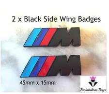 2 x Black ///M Sport Small Emblem M Power Badge Metal Chrome BMW Side Wing UK