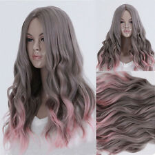 Gray With Pink Long Curly Wave Hair Full Wigs Cosplay Lolita Weave Lace Cap Wig