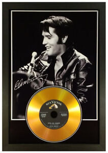 ELVIS PRESLEY SIGNED PHOTOGRAPH GOLD CD DISC COLLECTABLE GIFT MEMORABILIA