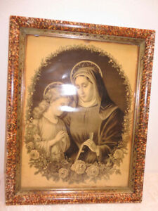 Vintage Virgin Mary Blessed Mother and Child Jesus Print in Beautiful Frame