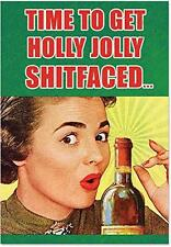 B6493 Box Set of 12 Holly Jolly S**tfaced Unique Funny Christmas Cards with Enve