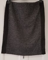 Womens Stretch Herringbone Satin Wool Mix Black Grey Lined Pencil Skirt Medium.