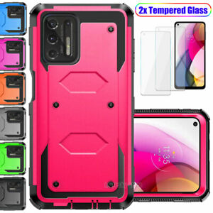 For Motorola Moto G Stylus 2021 Armor Impact Case Cover+Tempered Glass Protector