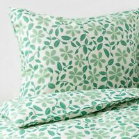 New IKEA JUVELBLOMMA Twin Duvet cover and pillowcase white green floral 30449772