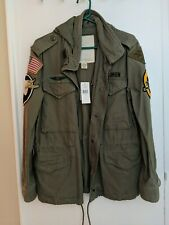 Ralph Lauren Denim & Supply Military Field Jacket Patches Flag Skull, Size S-NWT