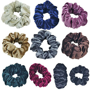 Large & Reg Top Quality Velvet Scrunchies Hair Holder Double Rubber Bands XERU