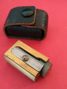 Vintage Brass Pencil Sharpener Stamped (FMS-Adjusting Wheel) & (PAT.APPL.-Case)
