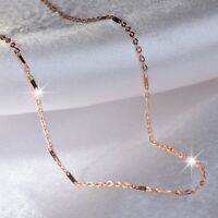 18K ROSE GOLD PLATED LINK BAR CHAIN NECKLACE 44CM 1MM