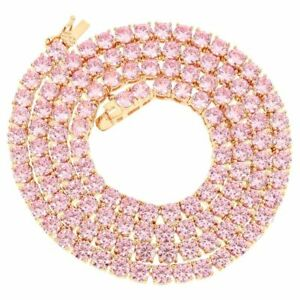 4mm 1 Row Tennis Necklace 14K Rose Gold Finish Pink Lab Diamonds 24 inches