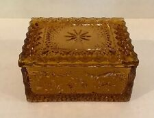 Tiara Indiana Glass Amber Sandwich Pattern Trinket Box Duncan Miller Mold