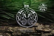 Viking Twin Dragons Pendant - Borre Art Style - Norse/Celtic/Steel/Neckla ce