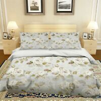 3D White Flower ZHUA1848 Bed Pillowcases Quilt Duvet Cover Set Queen King Zoe
