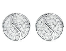 10 Quilates Oro Blanco Hombre Mujer Diamante Redondo 9mm Yin Yang