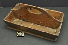 Antique Vtg Early Divided Table Box Wood Divided Tote Handled Carpenters Caddy