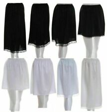 Ladies Black Ivory white anti static waist half slip underskirt petticoat