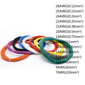7AWG - 26AWG PTFE Silver-plated Copper Stranded Electrical Wire Cable Audio Wire