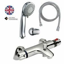 Contemporary Bathroom Thermostatic Bath Shower Mixer Valve Tap & Handset Kit