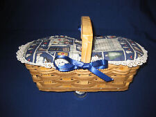 Handmade basket with Snowmen and Snow Ice Cream recipe on the lid and lace bows