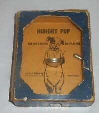 """circa 30's A. C. GILBERT Co. HUNGRY PUP Dexterity Game Cardboard Plastic 4"""" X 3"""""""